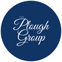 Blue and white logo for The Plough Group in Northern Ireland who use some of anyExcuses digital solutions for the hospitality